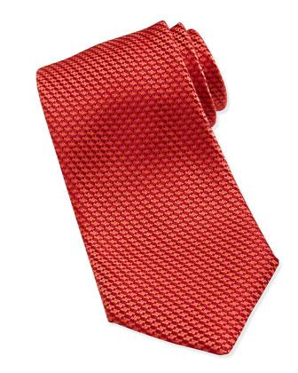 Tonal Weave Silk Tie, Red