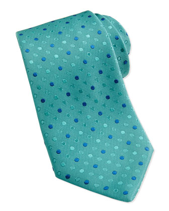 Dot Pattern Silk Tie, Teal/Blue