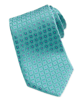 Shadow Square Pattern Tie, Aqua/Pink