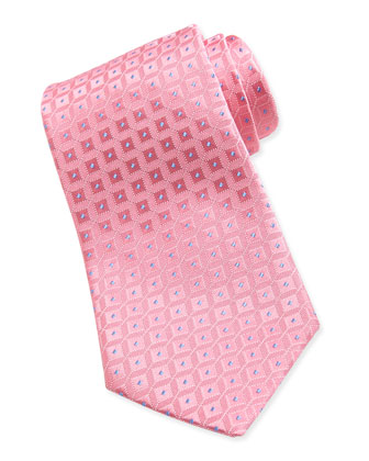 Shadow-Square Silk Tie, Pink/Blue