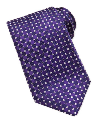 Micro Squares Tie, Purple/White