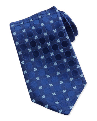 Geometric-Print Silk Tie, Blue