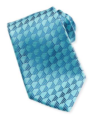 Woven Tonal Trapezoid Tie, Blue