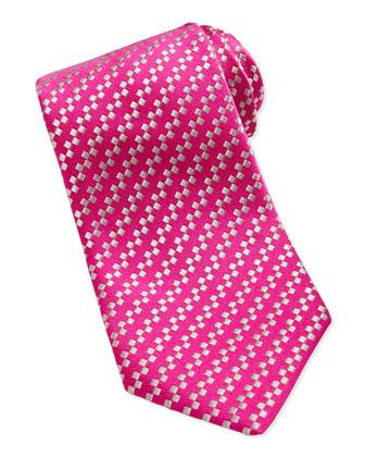 Diagonal Squares Pattern Tie, Pink/White