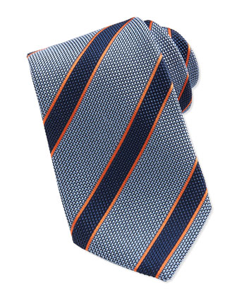 Textured Stripe Tie, Blue/Orange