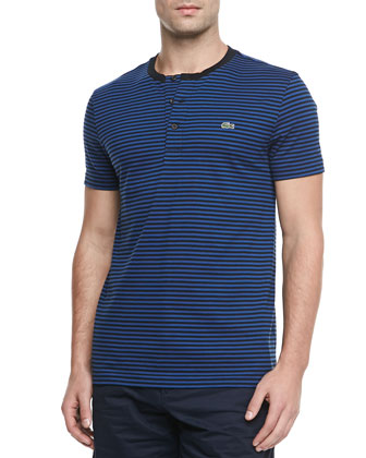 Short-Sleeve Striped Henley, Black