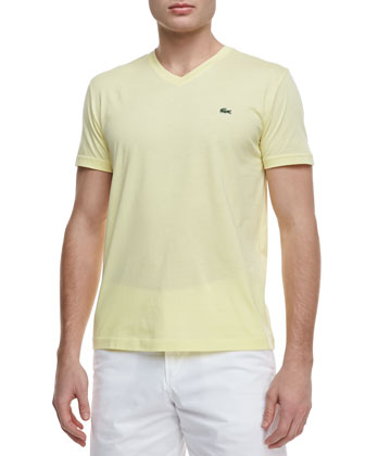 Pima-Jersey V-Neck Tee, Yellow