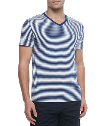 Striped Jersey V-Neck Tee, Navy Blue/White