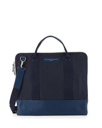 Heathrow Canvas and Leather Messenger Bag, Blue