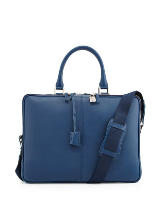 Trudeau Zip Leather Briefcase, Blue
