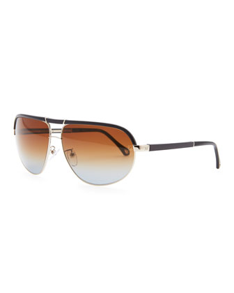 Metal & Acetate Aviator Sunglasses, Navy
