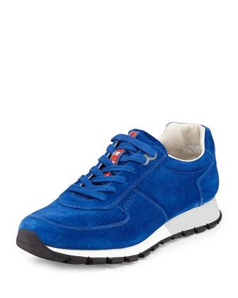 Suede Low-Top Sneaker, Blue