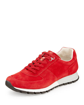 Men's Suede Low-Top Sneaker, Red