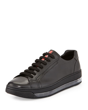 Levitate Men's Leather Low-Top Sneaker, Black