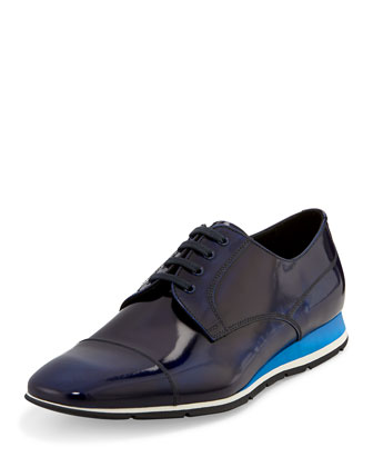 Spazzolato Leather Derby Sneaker, Blue