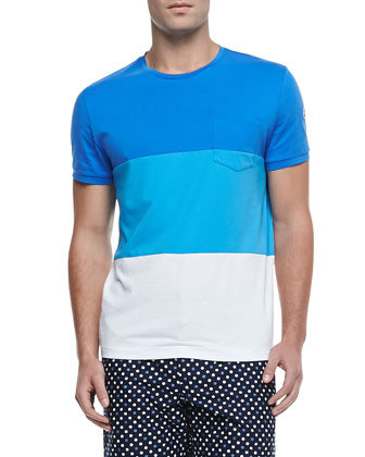 Colorblock Jersey Tee, Blue/White