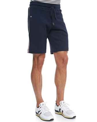 Web-Detail Track Shorts, Navy