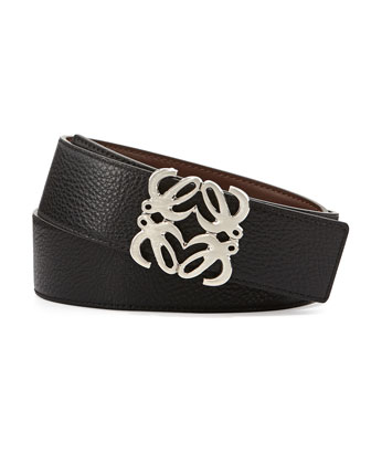 Reversible Anagram-Buckle Belt, Black to Tan