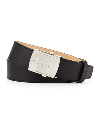Bruce Men's Logo-Plaque Belt, Black