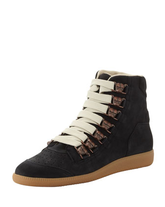Men's Bulldog Lace-Up High-Top Sneaker, Black