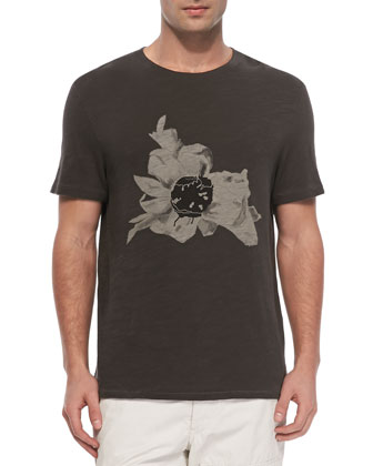 Short Sleeve Flower Tee, Light Black