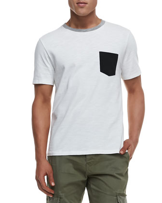Colorblock Pocket Tee, White