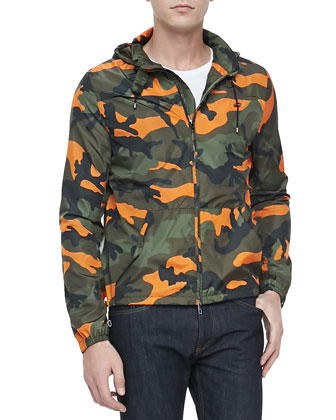 Camo-Print Parka Jacket, Green/Orange