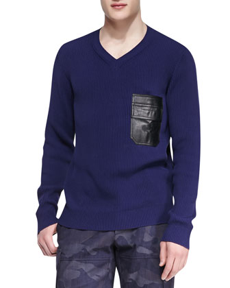 V-Neck Sweater with Faux Leather Pocket, Navy