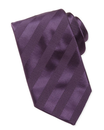 Textured-Stripe Silk Tie, Purple