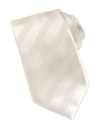 Textured-Stripe Silk Tie, White