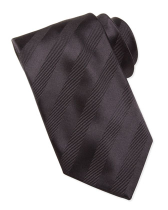 Textured-Stripe Silk Tie, Black