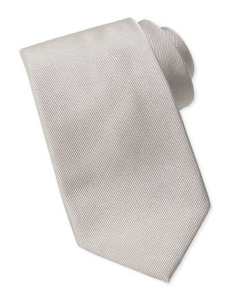 Silk-Faille Tie, Silver