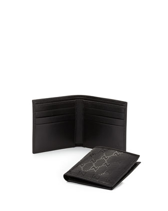 GG Imprime Leather Bi-Fold Wallet, Black