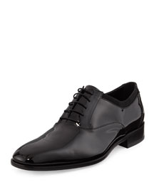 Aiden Patent Lace-Up Oxford, Black