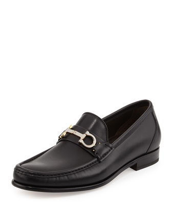 Twirl Gancini-Bit Leather Loafer, Black