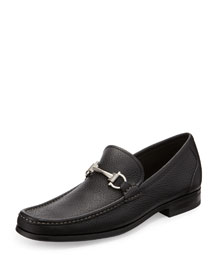 Magnifico Pebbled Leather Loafer, Black