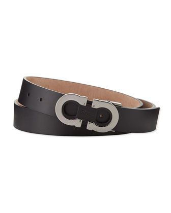 Double-Gancini Adjustable Leather Belt, Black