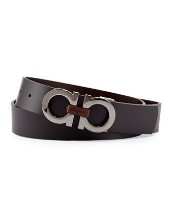 Reversible Double-Gancini Belt, Black/Brown
