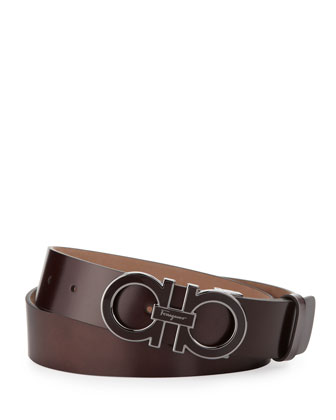 Enamel Double-Gancini-Buckle Belt, Brown