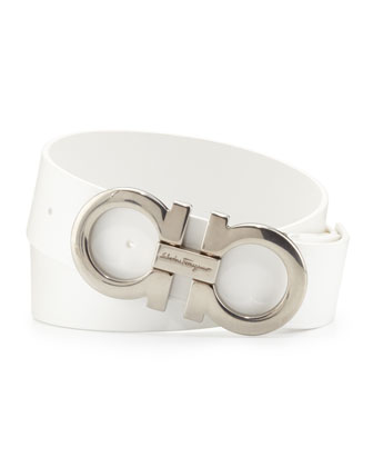 Men's Double-Gancini Calfskin Belt, White