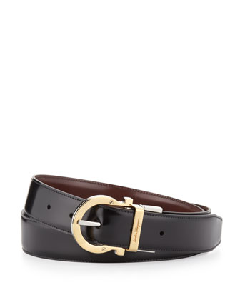 4-In-1 Reversible Gancini Belt, Black/Brown