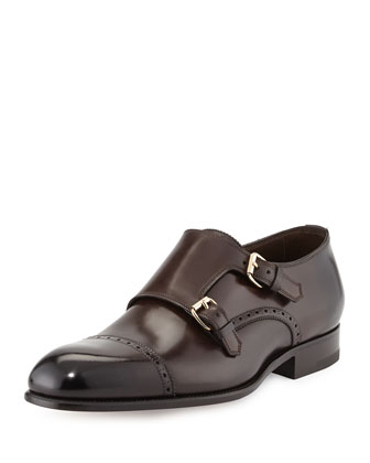 Charles Double-Monk Shoe, Dark Brown