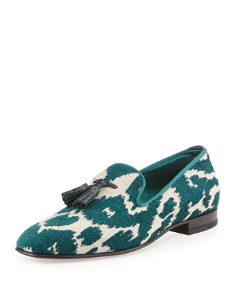 Chesterfield Jacquard Smoking Slipper, Green