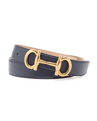 Parigi Golden-Buckle Pebbled Leather Belt, Navy