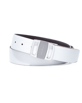 Sardegna Reversible Vara-Buckle Belt, White/Chocolate