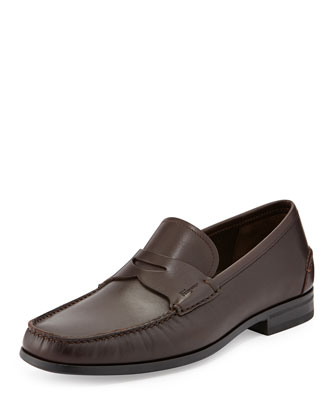 Print Rubber-Sole Penny Loafer, Brown