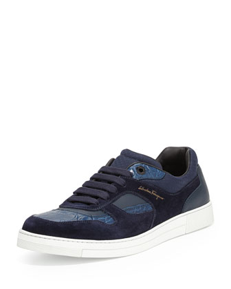 Rey 2 Suede & Crocodile Low-Top Sneaker, Blue