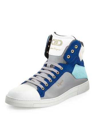 Stephen Calf-Hair High-Top Sneaker, Blue