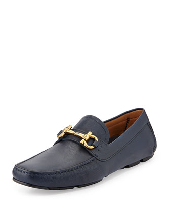 Parigi Pebbled Leather Driver, Navy