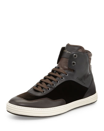 Palestro Men's Velvet High-Top Sneaker, Brown